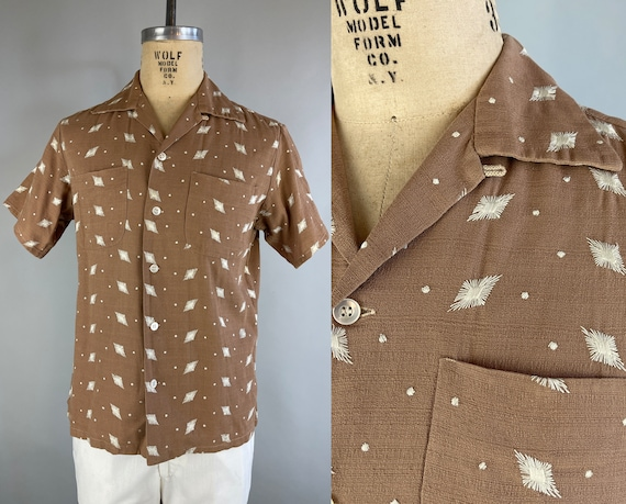 1950s Stan's Starburst Shirt | Vintage 50s Mocha Brown Linen Cotton Short Sleeved Button Up with White Atomic Age Embroidery | Medium