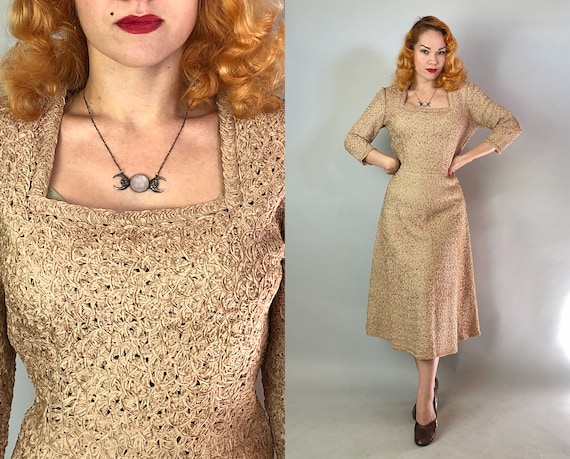"""1940s Ribbon Knit Dress 