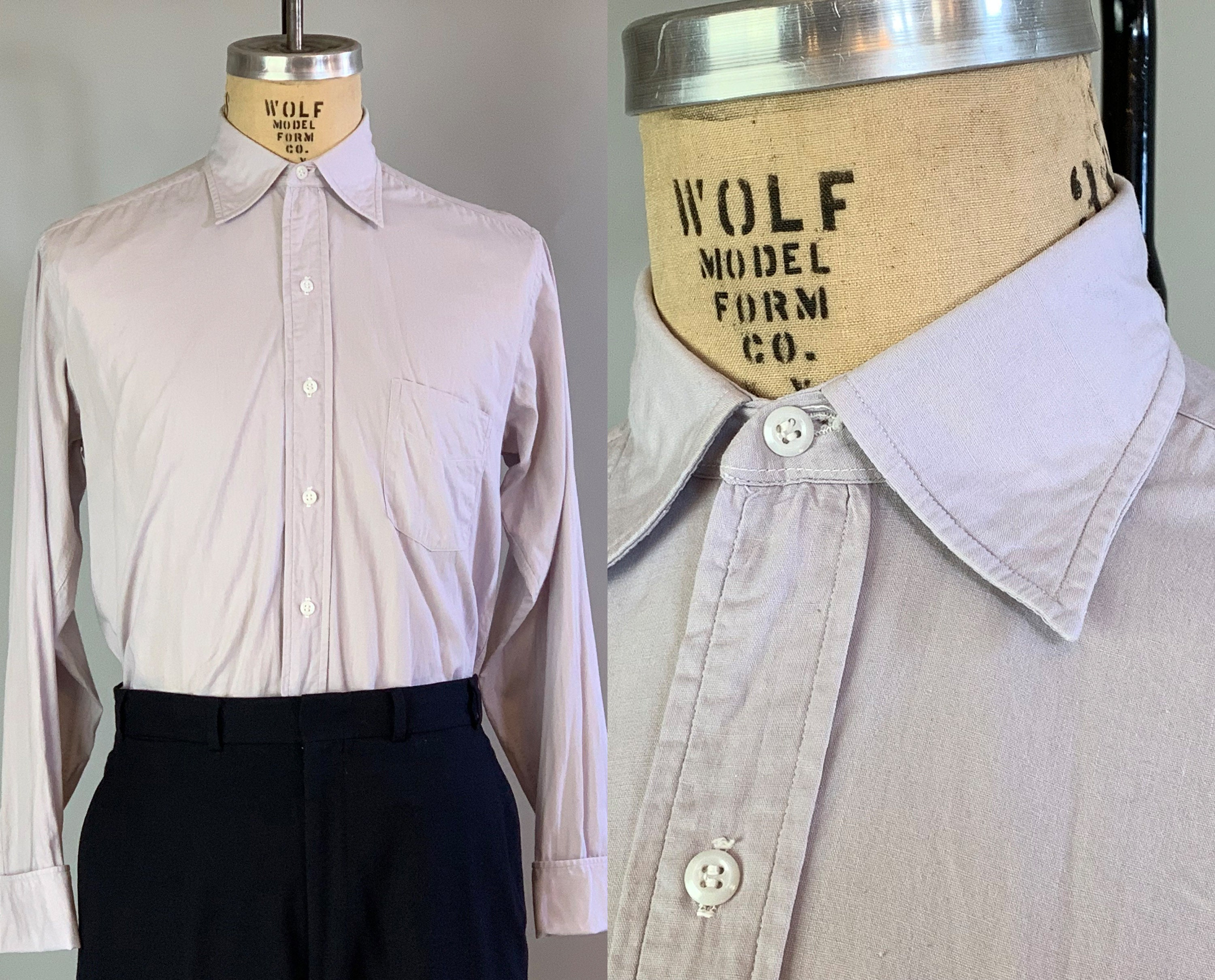 New 1930s Mens Fashion Ties 1930S Spearpoint Collar Oxford  Vintage 30S Mens Light Grey Cotton Shirt From Brent With French Cuffs Size 1533 Medium $22.00 AT vintagedancer.com