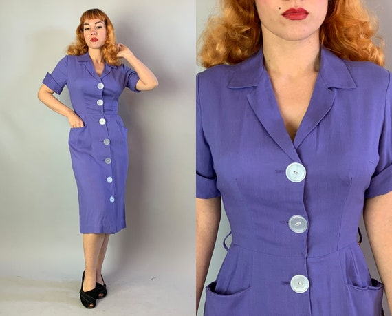 1950s Lovely in Lavender NOS Dress | Vintage 50s Purple Rayon Deadstock NWT Day Frock with Giant White Buttons and Pockets | Small