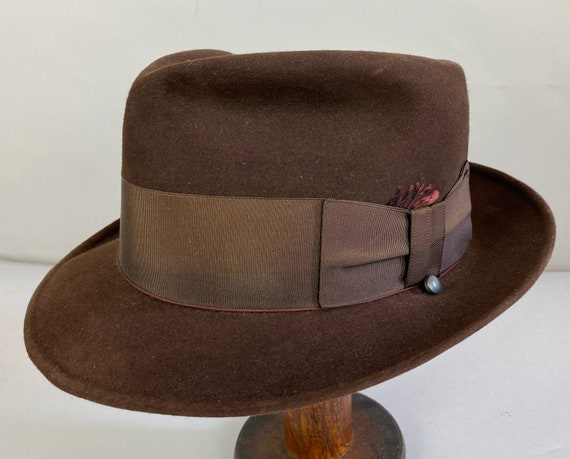 "1940s Fashionable Fedora | Vintage 40s Dark Chocolate Brown Fur Felt Mens Hat w/Grosgrain Ribbon & Wind Button by ""Dobbs"" | Size 7 Medium"