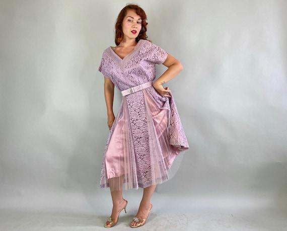 1940s Lovely Lavender Lace Dress   Vintage 40s Pa… - image 4