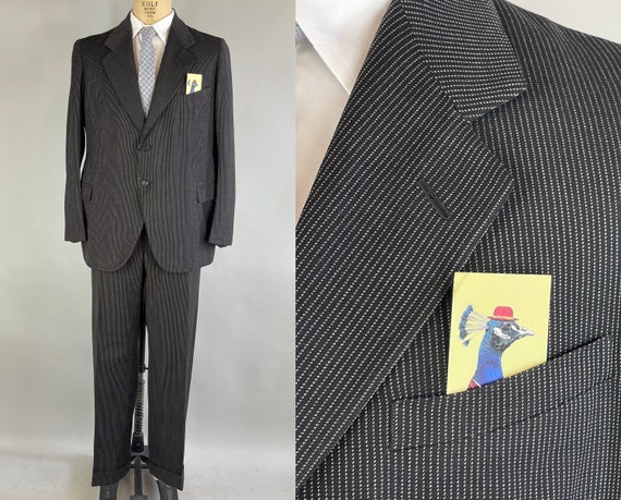 """1930s Classic Capone Suit   Vintage 30s Black Wool with White Pinstripes Jacket & Trousers Pants Set by """"Newman's""""   Size 42/44 Large/XL"""
