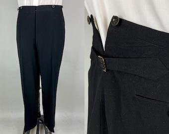 1910s Fastidious Frank Trousers | Vintage Antique Edwardian Teens Black Wool Pants w/Adjustable Waist & Fishtail | 34-36x29 Medium Large