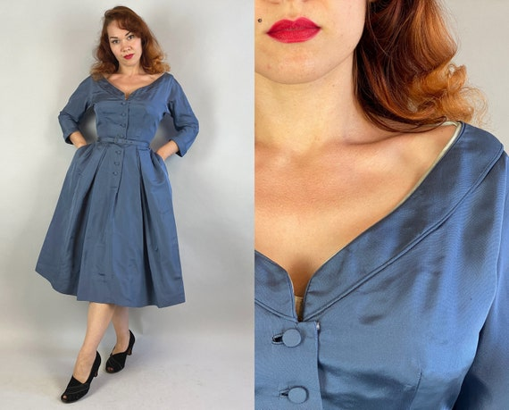 1950s Sweetheart Sally Dress   Vintage 50s Steel Blue Rayon Cocktail Party Dress with Pockets Full Skirt and Matching Belt   Extra Small XS