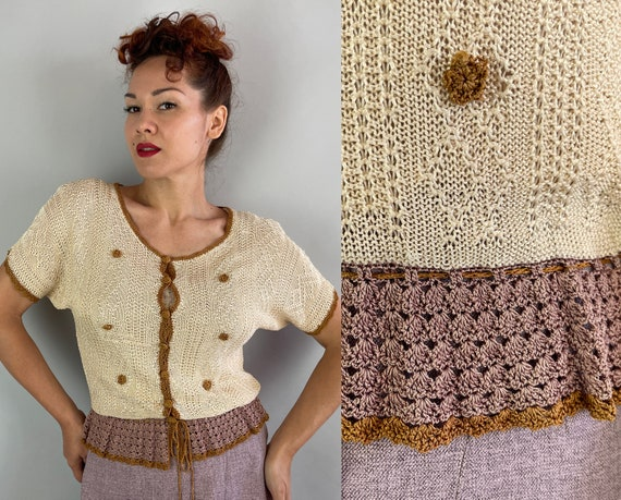 1930s Natasha's Knockout Knit Top   Vintage 30s Cream Copper and Mocha Brown Rayon Blouse with Crochet Peplum and Buttons   Small Medium