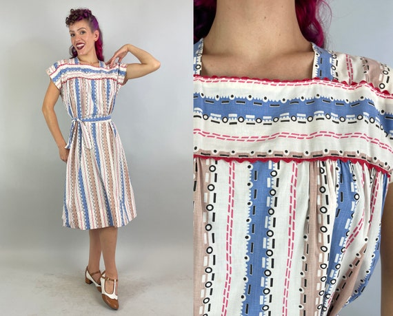 1940s Secret Code Day Dress   40s Cotton Casual Dashes & Dots Ric-Rac Keyhole Closure Volup Frock with Self-tie Sash Belt   Extra Large XL