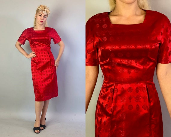 Vintage 1950s Cocktail Dress | 50s Red Silk Satin Brocade Evening Party Dress with Chinese Inspired Medallion and Lantern Pattern | Medium