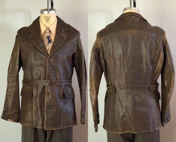 "1930s Rebel Leather Jacket | Vintage 30s Brown Goatskin Coat with Belted Back Removable Belt and Flap Pockets by ""The Californian"" 