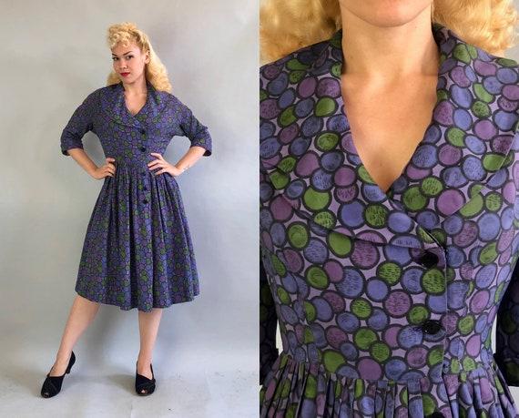 Vintage 1950s Dress   50s Mid Century Purple Green & Black Silk Circle Bubble Print Dress Asymmetric Button Up and Shawl Collar   Medium