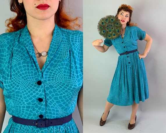 1940s Peacock Perfection Dress | Vintage 40s Teal