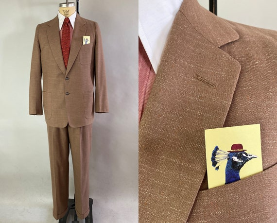 1950s Wise Guy Suit | Vintage 50s Taupe Brown Flecked with White and Orange Wool Single Breasted Jacket and Trousers | Size 38/40 Medium