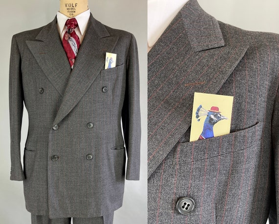 1940s Refined Roger Suit | Vintage 40s Anchor Grey with Red Pinstripe Peak Lapel Wool Jacket and Pants Dated 1947! | Size 44 Extra Large
