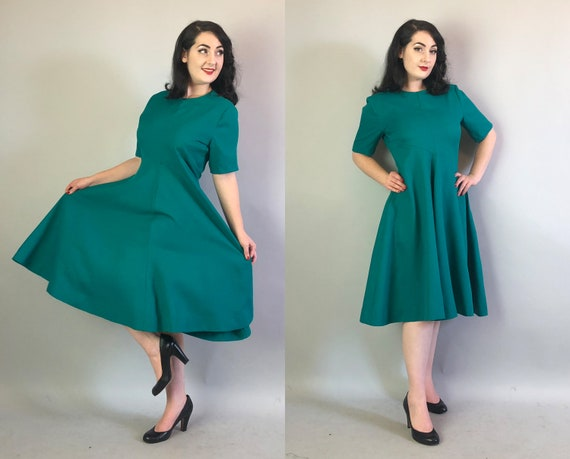1960s Teal Crepe Dress | Vintage 60s Classic Blue Green Wool Fit and Flare Swing Dress with Two Deep Side Pockets! | Extra Large XL Volup