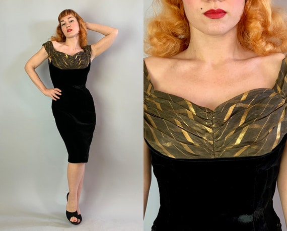 1950s Bombshell Betty Wiggle Dress | Vintage 50s Black Silk Velvet Cocktail Evening Frock with Bronze and Gold Voile Pleated Bust | Small
