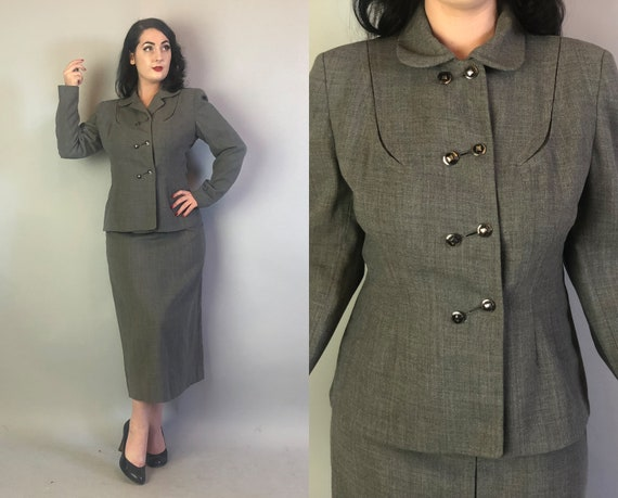1940s Heather Grey Ladies Suit | Vintage 40s Wool Pencil Skirt and Blazer Set w/ Fantastic Buttons & Unique Collar by 'Joselli '| Medium