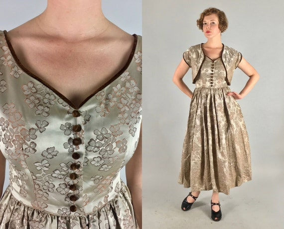 1940s Floral Jacquard Dress Set | Vintage 40s Two Piece Champagne and Brown Cocktail Party Dress & Jacket Ensemble with Velvet Trim | Small