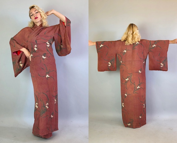 Vintage 1930s Kimono | 30s Silk Brick Red Japanese Kimono Robe with Yellow Blue Dots and Black White Gold Leaf and Flower Displays