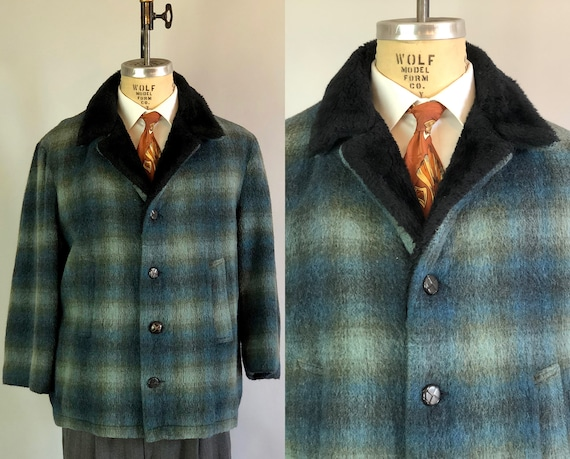 "Vintage 1950s Mens Car Coat | 50s Ocean Blue & Moss Green Wool Shadow Plaid Jacket w/Black Fuzzy Fleece Collar ""Roos Atkins""