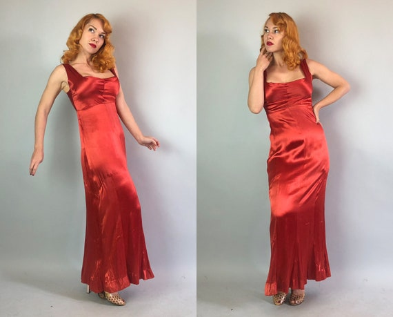 1930s Rust Red Silk Satin Gown | Vintage 30s Square Neck-Line Empire Waist Sleeveless Full Length Party Evening Dress | Medium