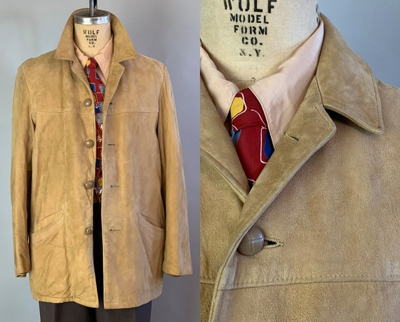1950s Mens Suede Jacket | Vintage 50s Mustard Yellow Fully Lined Classic Leather Coat with Brown Leather Buttons and Pockets! | Large