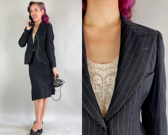 1930s Back in Black Suit   Vintage 30s Coal Wool White Pinstripe Single Button Peak Lapel Jacket Blazer & Pencil Skirt Set   Extra Small XS