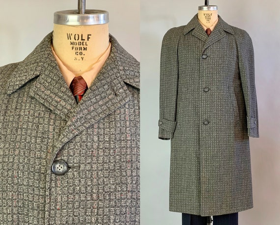 1950s Executive Chic Overcoat | Vintage 50s Grey Windowpane and Red Flecks Wool Single Breasted Long Jacket with Tab Cuffs | Medium