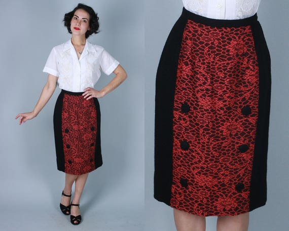 1950s Black & Coral Pencil Skirt | Vintage 50s Wool Wiggle Skirt with Pink Lace Look Panel and Button Details | Small