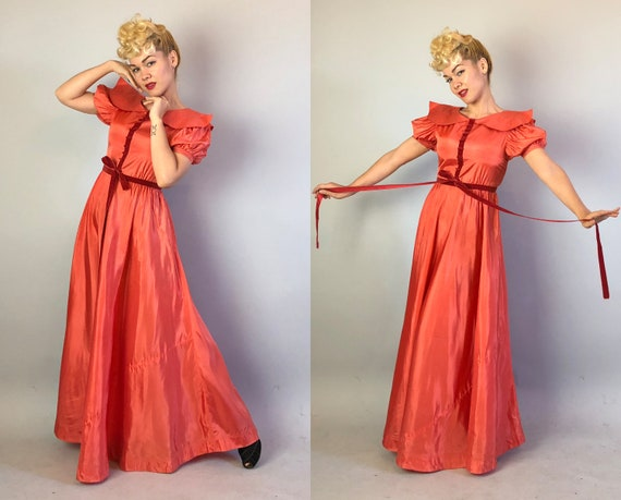 1930s Coral Silk Taffeta Evening Gown | Vintage 3… - image 1