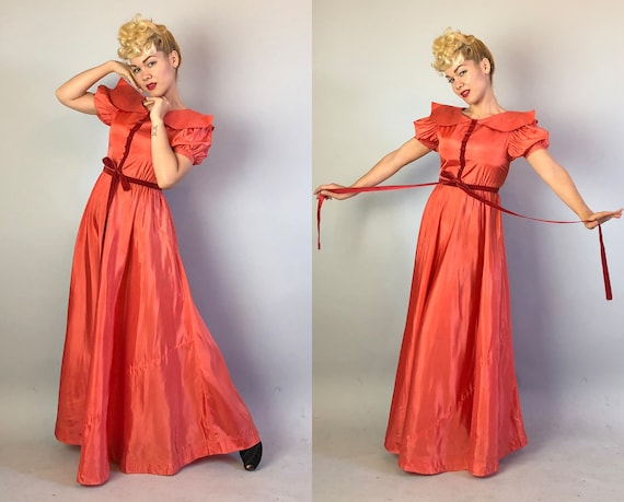 Vintage 1930s Dress | 30s Amazing Coral Silk Taffeta Evening Gown With Dusty Rose Velvet Ribbon Tie & Oversized Topstitched Collar | Small