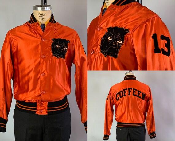 1940s Halloween Harold Athletic Jacket | Vintage 40s Orange Cotton Sateen Satin Warm Up Coat w/Black Knit Edges and Bulldog Patch | Medium