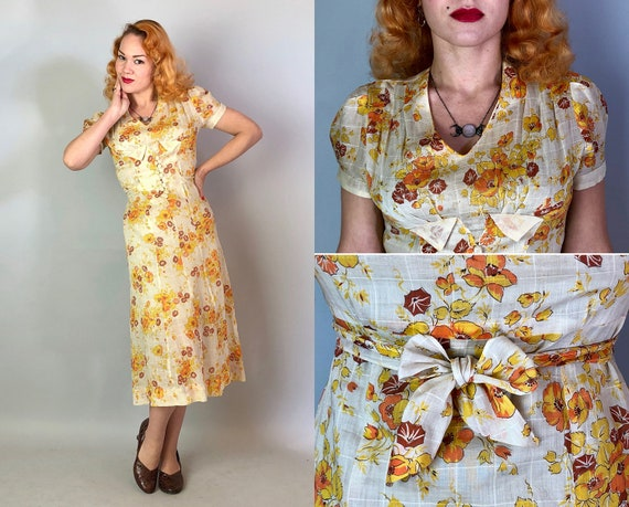 1930s Gatsby Day Dress | Vintage 30s Cotton Voile in White, Orange, Yellow, and Brown Floral Print with Crochet Buttons & Tie Back | Small