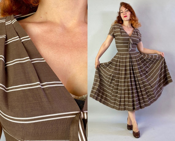 1940s Darling Dorothy Day Dress   Vintage 40s Cedar Brown and White Stripes Cotton Voile Fit + Flare Frock w/Bows & Pleats   Extra Small XS