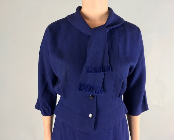 Vintage 1940s 1950s Skirt Suit | 40s 50s Volup Vintage Navy Blue Suit with Fringed Scarf Collar by 'Kerrybrooke' | Large/Extra Large XL