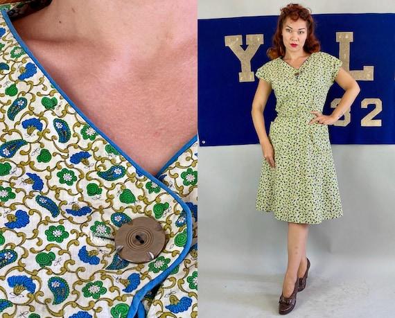 1940s Joyce's Joyful Day Dress | Vintage 40s Blue Green & Olive Flower Paisley Print White Cotton Zip Front Frock w/Pockets | Large