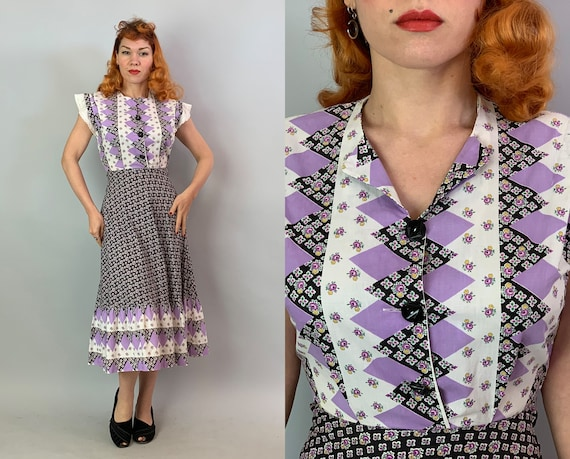 1930s Fabulous Flora Flower Frock | Vintage 30s Cotton Day Dress w/Harlequin Diamond Pattern in White Black & Purple w/Lace Sleeves | Small