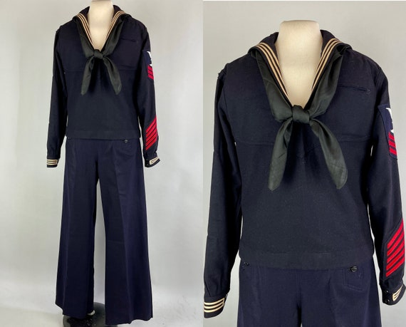 1940s Anchors Away Sailor Suit | Vintage 40s Classic Navy Blue Wool Two Piece Set with Button Flap Lace Up 13-Button Pants & Top | Medium