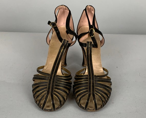 1940s Glamorous T-Strap Heels | Vintage 40s Evening Cocktail Strappy Sandal Shoes in Black Satin Covered Leather w/Gold Trim  | US Size 6.5