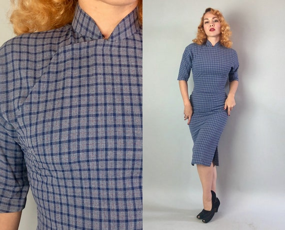 Vintage 1950s Dress | 50s Cobalt Blue & Rust Red Orange Plaid Linen Cotton Blend Traditional Chinese Short Sleeve Cheongsam QiPao | Small