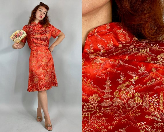 1950s East Meets West Frock | Vintage 50s Tangerine Orange Yellow and White Asian Silk Brocade Cocktail Dress with Mandarin Collar | Medium