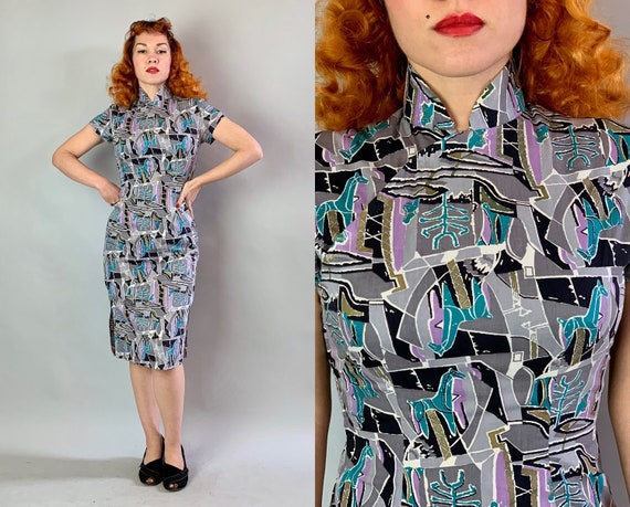 1950s Atomic Annie Cheongsam | Vintage 50s Cotton Qipao Chinese Dress w/ Novelty Llama Horse Print Black Grey Turquoise Gold Purple | Small