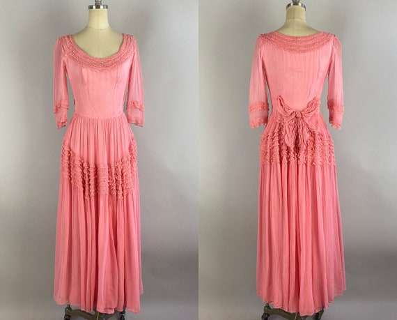 1940s Perfect Pink Princess Gown | Vintage 40s Bubblegum Rayon Net Long Formal Dress with Tiers of Lace Ruffles and Bow | Extra Small XS