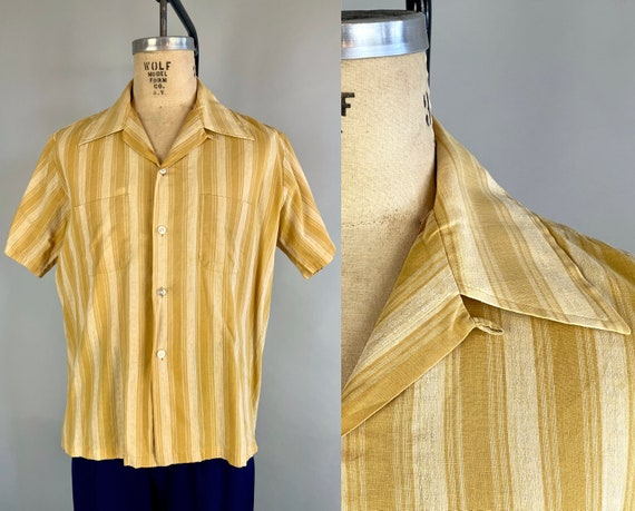 1950s Simple Elegance Shirt   Vintage 50s Gold and Beige Striped Cotton Top-Loop Square Cut Oxford Top with Patch Pockets   Large