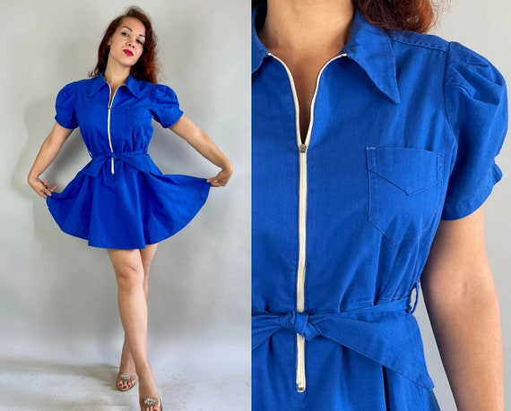1930s Janet's Team Player Playsuit | Vintage 30s Cobalt Blue Cotton Gym Togs Athletic Wear Romper w/ Puff Sleeves & Bloomers | Medium Large