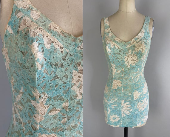 1960s Peek a Boo Lace Swimsuit | Vintage 60s Blue and White Semi Sheer One Piece Beach Bathing Suit with Low Back | Extra Small XS Small