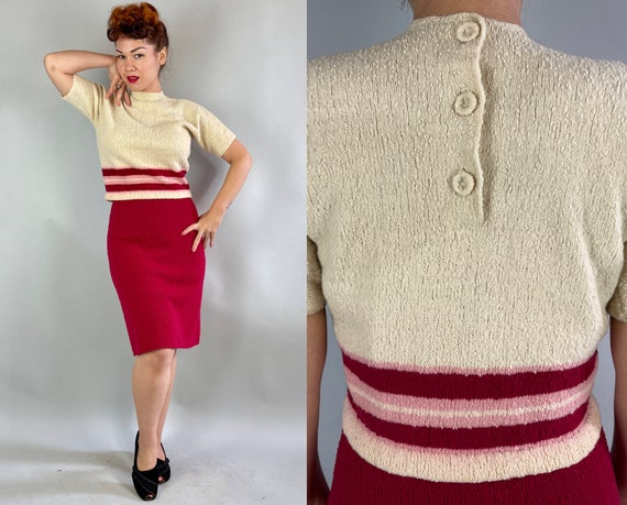 1950s Candy Cutie Dress Set   Vintage 50s Two Piece Apple Red Cream and Pink Sweater Knit Boucle Wool Pullover Top and Skirt   Medium/Large