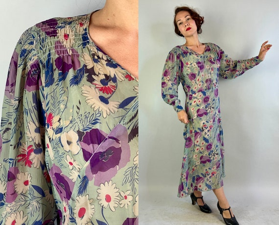 1930s Beauty in Bloom Dress | Vintage 30s Purple Blue Pink and White Sheer Silk Chiffon Floral Frock with Bishop Sleeves | Extra Large XL