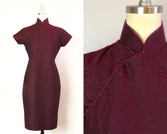 Vintage 1950s Dress | 50s Deep Plum Purple Wool Cocktail Cheongsam Chinese Qipao w/ Black Motif Embroidery and Satin Piping | Extra Small XS