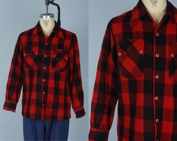 "Vintage 1930s 1940s Men's Camp Shirt | 30s 40s Red & Black Buffalo Check Plaid Wool Square Cut ""AC Shirt"" with Excellent Buttons 