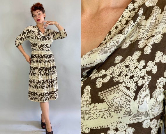 1940s Royal Procession Novelty Print Dress | Vintage 40s Brown and Cream White Rayon Crepe Cowl Neck Frock w/Chariots and People | Small